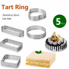 5 Pack Stainless Steel Tart Ring Heat Resistant Perforated Cake Mousse'