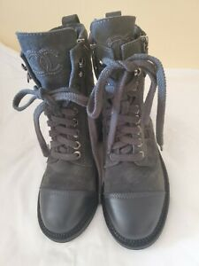 AUTH. $1525  NEW CHANEL GREY SUEDE LEATHER  QUILTED COMBAT MOTO CC LOGO BOOTS 36