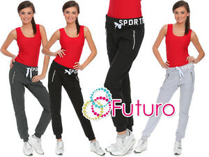 Womens Sport Pants Pockets Zips Trousers Lightweight Bottoms Joggers Track FZ49