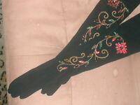 RARE Vintage 1940's multi-color Beaded Black Rayon opera length Gloves by KAYSER