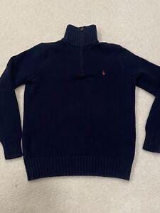 Boys Polo Ralph Lauren 1/4 Zip Sweater Sz M 10/12 Blue Heavy Cotton Nice!