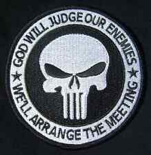 """GOD WILL JUDGE OUR ENEMIES US ARMY PUNISHER SWAT VELCRO® BRAND FASTENER PATCH 4"""""""