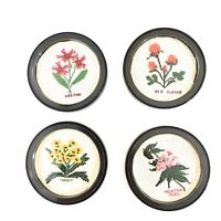 Vintage Needlepoint Flower Drink Coasters Made In USA