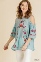 Umgee Blue Floral Embroidered Cold Shoulder Puff Sleeve Top