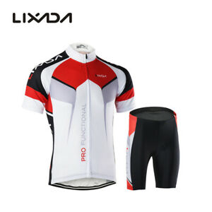 Men Breathable Quick Dry Comfortable Short Sleeve Jersey + Padded Shorts L2J7
