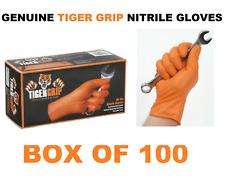 100 LARGE Genuine Tiger Grip Orange Nitrile Gloves