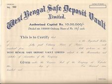 India share certificate: West Bengal Safe Deposit Vault Limited