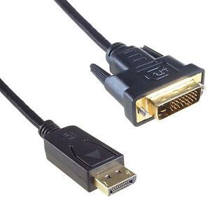 1.8m DisplayPort Plug Socket to DVI-D 24+1 Male-Male Plug Digital Video Cable UK