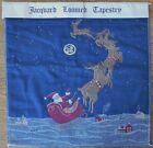 """Vintage Tapestry Santa, reindeer 17"""" x 18"""" make pillow, hanging Greensborough"""