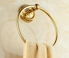 Gold Polished Brass Wall Mounted Towel Ring Holder Bathroom Accessories mba605