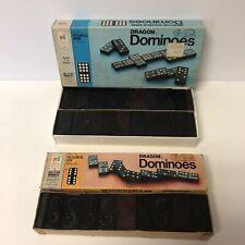 Vtg 1970 Milton Bradley Wooden Halsam Double Nine & Double Six Dragon Dominoes