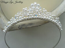 Handmade Tiara with pearls & Swarovski AB crystals. Bride wedding prom bridal UK