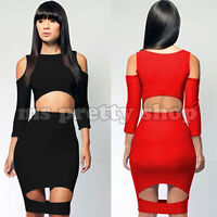 Womens Sexy Red Shoulderless Bare Midriff  Bandage Bodycon Party Dress M