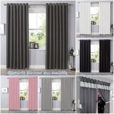 Black Out Eyelet Blackout Curtains PAIR of Thermal Ring Top Ready Made Luxury
