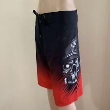 Metal Mulisha Men's Glow Boardie Short Boardshorts Size 32 Black Red