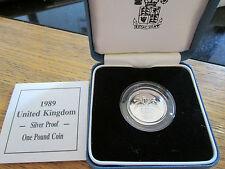 UK 1984 ROYAL MINT SCOTISH THISLE DESIGN £1 SILVER PROOF COIN BOX/coa Cc1