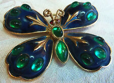 VINTAGE HAR BUTTERFLY BROOCH BLUE ENAMEL & GREEN JELLY BELLY GORGEOUS!