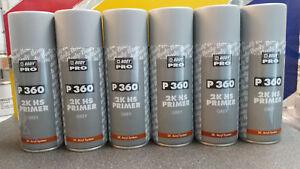 6 x HB Body 360 2K GREY Acrylic Car Filler Primer 400ml Aerosol - Top Quality