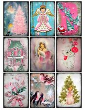 9 Vintage Retro Shabby Christmas Pink Hang Tags Scrapbooking Paper Craft (326)