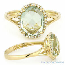 2.83ct Oval Green Amethyst Diamond Halo Engagement Cocktail Ring 14k Yellow Gold