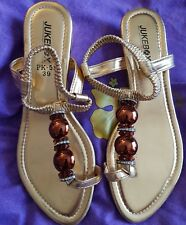 Juke Box Ladies Gold dress thong sandle with bling NEW size 39 (Aussie size 8)