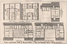 "William H. White. ""How the Parisians build a house in flats"" 1875 old print"