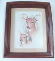 "Vintage Home Interiors  Deer and Fawn Picture Wormhole Frame 13.5"" X 16.5"""