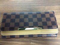 Ladies Women Girls Wallet Purse Clutchbag Designer Look Brown Black Check Wallet