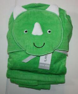 New Carter's Boys Hooded Bath Towel Happy Dinosaur Face Terry Material Green