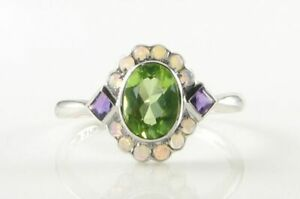 SUFFRAGETTE 9CT 9K WHITE GOLD PERIDOT AMETHYST OPAL ART DECO INS CLUSTER RING