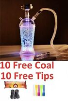 Portable Acrylic Hookah Travel Cup With LED Light w Free Tips and Coal