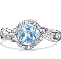 Sterling Silver AVON Simulated Aquamarine CZ 1ct Cushion cut Ladies Ring size 7