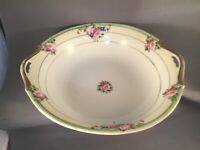 "ANTIQUE CHIKCARAMACHI NORITAKE 8"" HANDLED BOWL PINK ROSE GOLD EDGES 1928 JAPAN"