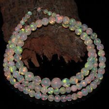 36 Crt Natural Ethiopian Welo Fire Opal White Round Balls Beads Necklace 113