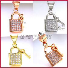 9K GOLD GF CRYSTAL KEY PADLOCK CHARM LADY GIRLS SOLID PENDANT NECKLACE XMAS GIFT