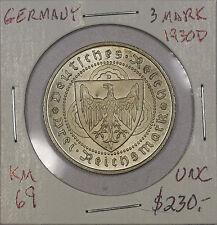 Germany 3 Reichsmark 1930 D. UNC. KM 69. Death of Von Der Vogelweide
