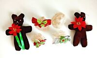 Vintage Christmas ornament lot 4 Hand Crocheted starched Bells 2 velour bears