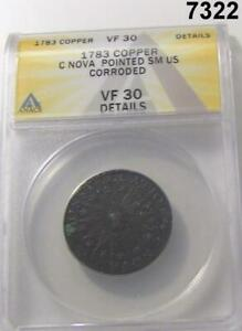 1783 COPPER CONSTELLATION NOVA POINTED SMALL US ANACS CERTIFIED VF30 #7322