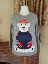 GREY CHRISTMAS BEAR FUN  WINTER JUMPER BY NEXT size  16 18 - WOOL MIX