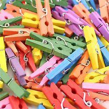 """50 Mini Clothespins - 1 1/8"""" Wooden Clips - Mixed Colors - Craft Clothes Pins"""