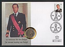 Numisbrief Belgien neuer König Albert 20 Francs + Stempel 1993 Nr. 921 NB-A5/16