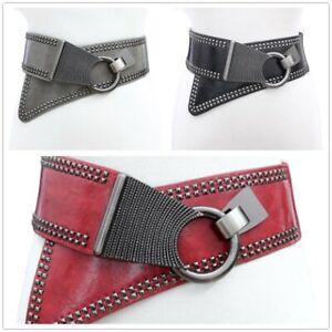 Women Punk Studded Buckle Wide Corset Elastic Leather Waistband Belt