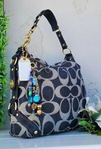 Mint RARE COACH denim jean CARLY signature hobo shoulder bag purse handbag 12577