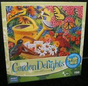 GARDEN FRIENDS BIRDS FLOWERS 750 PIECE GARDEN DELIGHTS JIGSAW PUZZLE NEW! B-64