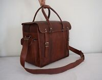 "18"" Vintage Leather Duffle Bag Travel Luggage Handbag Messenger Briefcase"