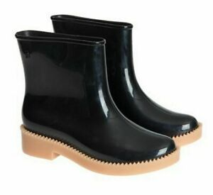NIB Melissa Women's Rain Drop Boot Black/Beige  Ankle Boots Sz 7M NEW