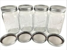 Ball Mason Jar-32 oz. Clear Glass Ball Wide Mouth-Set of 4 - With 4 Extra Lids