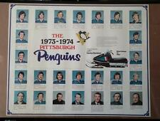 7336----1973/74 Pittsburgh Penguins team poster - Harley Davidson sponsored