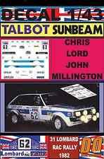 DECAL 1/43 TALBOT SUNBEAM LOTUS CHRIS LORD RAC RALLY 1982 (07)