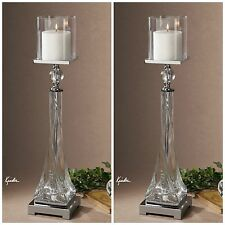 TWO LARGE  TWISTED GLASS & CRYSTAL PILLAR CANDLE HOLDERS STICKS NICKEL ACCENTS